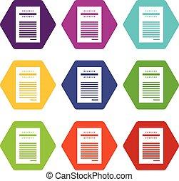 Sales printed receipt icon set color hexahedron