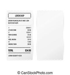 Sales Printed Receipt White Paper Blank Vector. Shop Reciept Or Bill Isolated On White Background. Realistic ATM Check Illustration