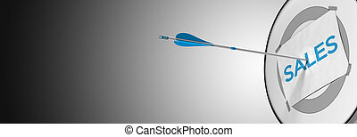 Sales Prospection - One arrow hitting the center of a modern...