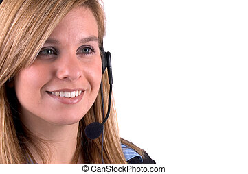 Attractive Blond Call Centre Sales Agent Isolated