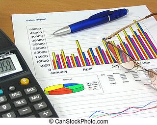 Sales Report 2 - Colorful sales charts, calculator, blue pen...