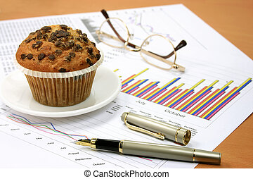 Sales report and muffin