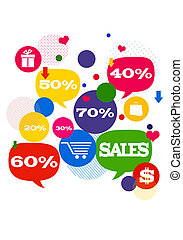 Sales shopping icons./ Colorful bubbles/buttons floating...