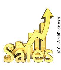 Sales statistics graphic in gold - 3d made