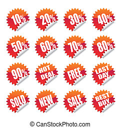 sales sticker tag with discounted percentage and other ...
