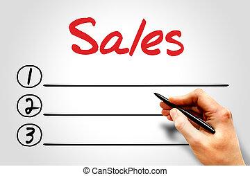 Sales blank list, business concept