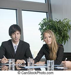 Sales talk between two businessmen