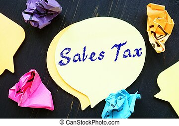 Sales Tax  sign on the sheet.