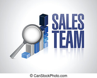 sales team business graph illustration design
