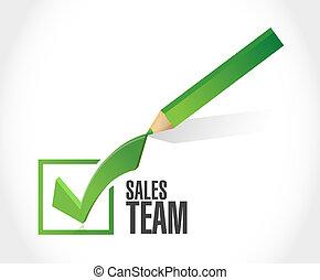 sales team check mark sign concept