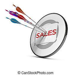 Sales Team - Five arrows hitting the center of a sheet of...
