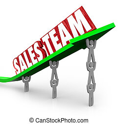 Sales Team Working Together Reaching Selling Goal - Sales...