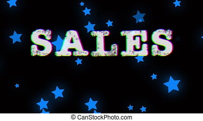 Animation of the word Sales in white letters with interference and blue stars floating on a black background. Cut price retail shopping encouragement concept, digital composite video