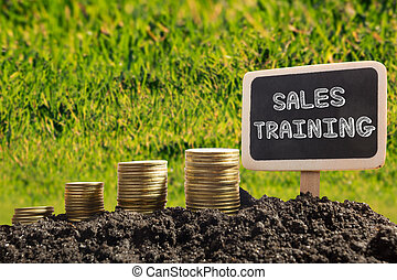 Sales training. Financial opportunity concept. Golden coins in soil Chalkboard on blurred urban background.