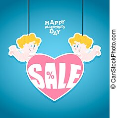 Sales Valentines day. Little angel is holding a heart with Text. Funny cute Cupid. Banner for store sales. Lute discounts for sales.