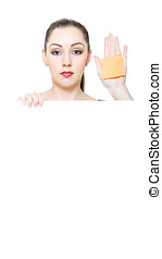 Sales Woman Holding Blank White Shopping List - Sales Woman...
