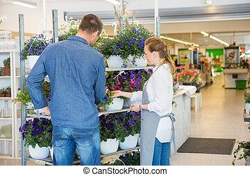 salesgirl, assistieren, kunde, in, kaufen, betriebe, an, kaufmannsladen
