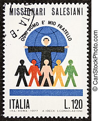 Salesians postage stamp - ITALY ? CIRCA 1977: a stamp...
