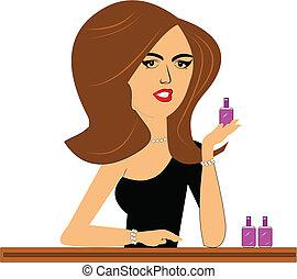 saleslady, cosmétique