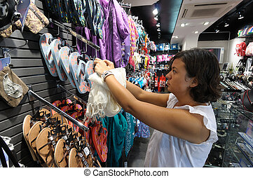 saleslady, em, um, moda, boutique