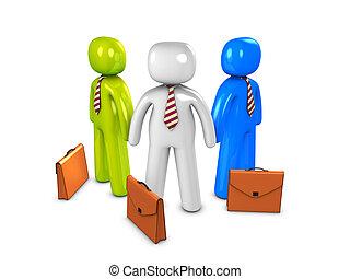 3d image, conceptual, salesman in group