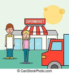 salesman and customer woman front supermarket truck transport