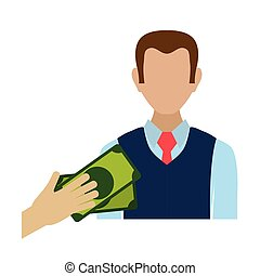 salesman avatar character with money