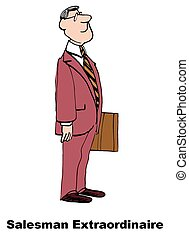 Salesman - Business cartoon about salesman extraordinaire.