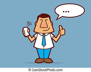 Cartoon man wearing a tie and holding a cell phone