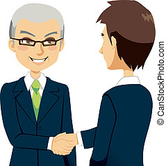 Senior experienced salesman agent greeting with handshake young business partner