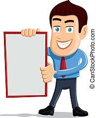 Salesman holding empty board