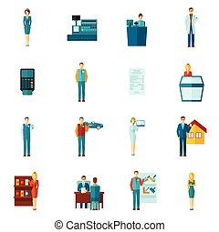 Salesman Icons Flat Set - Salesman shopman and realtors ...