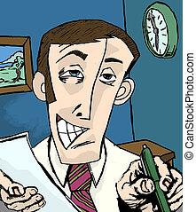 salesman illustration - A grinning man holing paper and pen