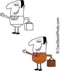 salesman in two separate styles over white vector