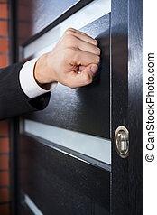 Salesman knocking on the door - Door to door salesman...
