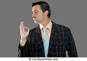 salesman occupation tacky man ok gesture profile mustache...