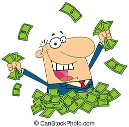 Salesman playing in a pile of money - Happy Caucasian...