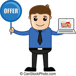 Salesman Presenting Offer on Snacks - Cartoon Salesman ...