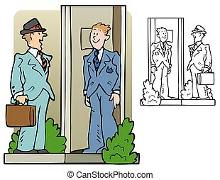 salesman - Salesman or pollster at the door of a house