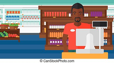 Salesman standing at checkout. - An african-american ...