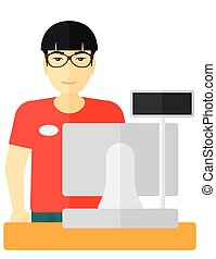 An asian salesman standing at checkout vector flat design illustration isolated on white background.