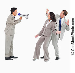Salesman with megaphone shouting at colleagues against a...