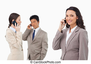 Salespeople on the phone against a white background