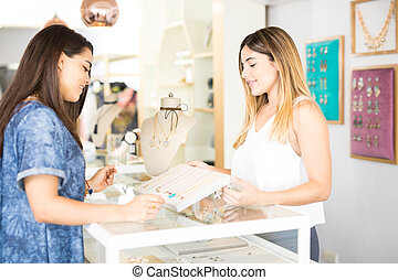 Salesperson and client at a store
