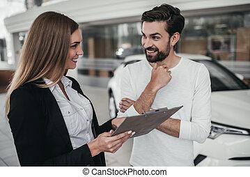 salesperson, noha, vásárló, autó, kereskedelem