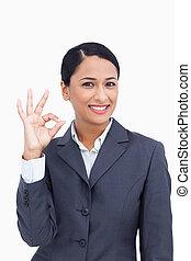 saleswoman, abandone, fim, aprovação, sorrindo