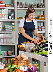 saleswoman, arbete,  Supermarket
