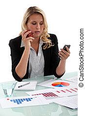 Saleswoman at her desk