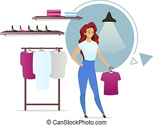 Saleswoman flat color vector illustration. Fashion store with racks. Clothing boutique. Female customer in apparel shop. Woman choosing clothes. Isolated cartoon character on white background