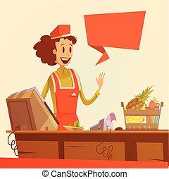 saleswoman, ilustração, retro